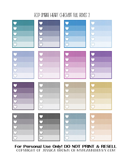Free Printable Ombre Heart Checkoff Full Boxes 2 of 3 for the ECLP/RECS Planners from myplannerenvy.com