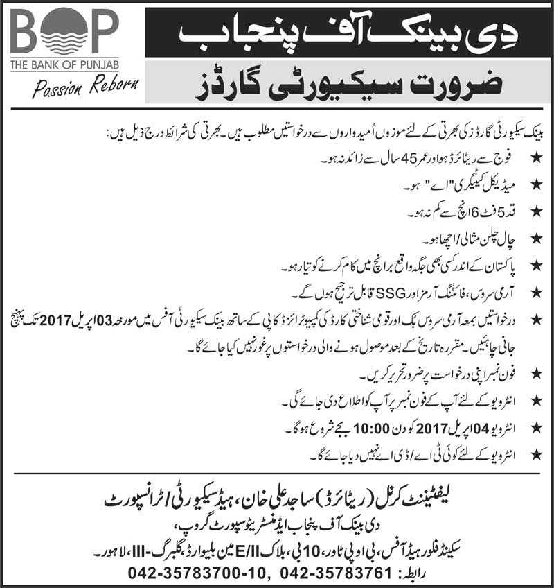 The Bank of Punjab BOP Jobs