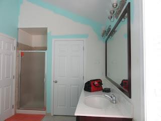 adding color to master bathroom walls.
