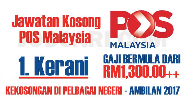 Jawatan Kosong Sebagai Kerani Pos Malaysia Minimum Spm Gaji Rm1 300 00 Jobcari Com Jawatan Kosong Terkini