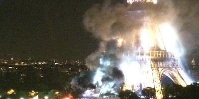 عاجل وبالفيديو.. بالموازاة مع اعتداءات نيس الدموية.. حريق مهول ببرج إيفل بالعاصمة باريس