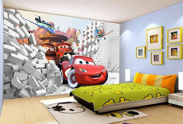 Disney Cars Wall Mural 3D Wallpaper Sticker Cars planes Brick Wall breaking through wall children room kids bedroom