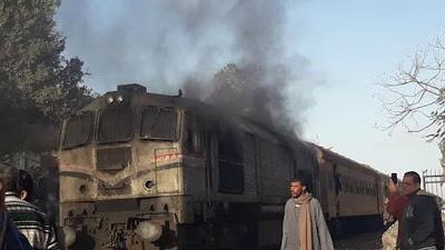 """السيطرة على حريق بقطار """"طنطا _ القاهرة"""" (صور)"""