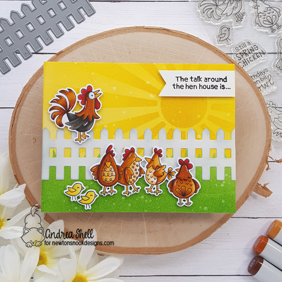 Chicken Card by Andrea Shell | Cluck Stamp Set, Fence Die, Land Borders Die Set, and Sunscape Stencil by Newton's Nook Designs #newtonsnook #handmade