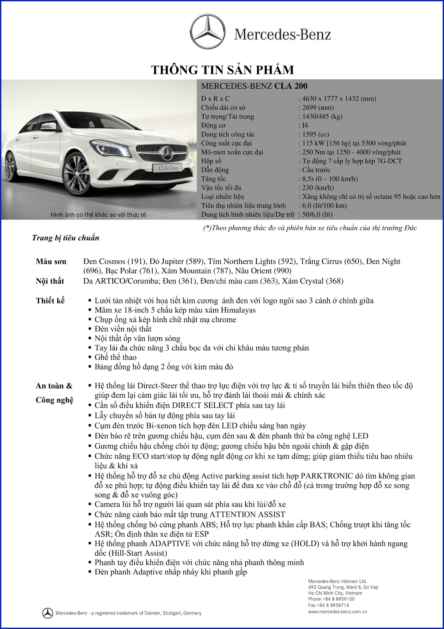 Bảng thông số kỹ thuật Mercedes CLA 200 2019 tại Mercedes Trường Chinh