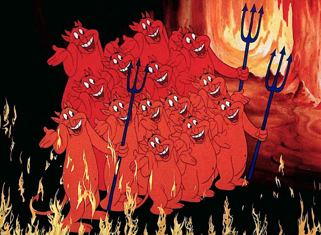 a color Tex Avery animation still of a group of shugging grinning devil demons in Hell