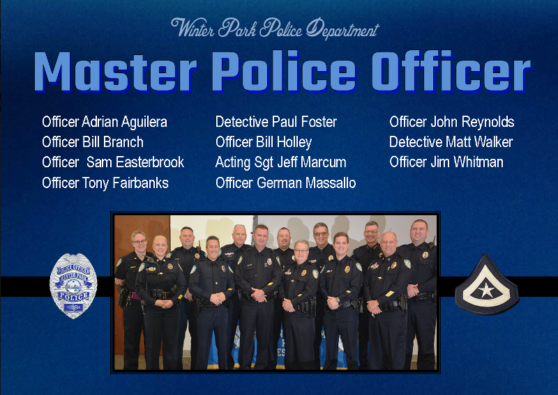 Master Police Officer Winter Park Police Department 39 S New Master Police Officers