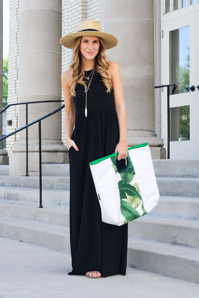 Black maxi dress styled