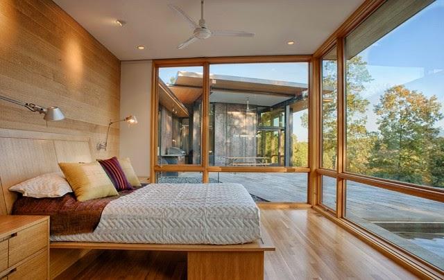 habitación paredes madera