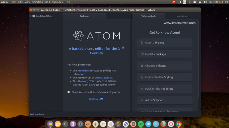 Install Latest Atom Text Editor in Ubuntu, Mint, Elementary