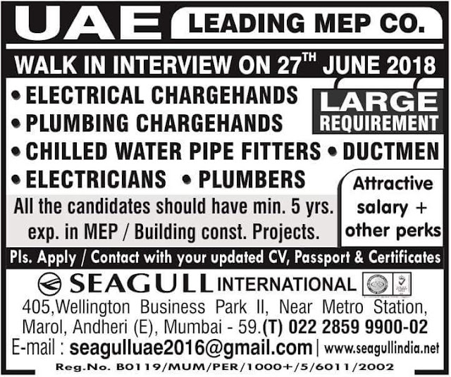 Jobs in Leading MEP Company in UAE : Seagull International Jobs in UAE, MEP Jobs, Electrician, Pipe Fitter, Duct Installer, Plumber, Chargehand, Seagull Jobs,