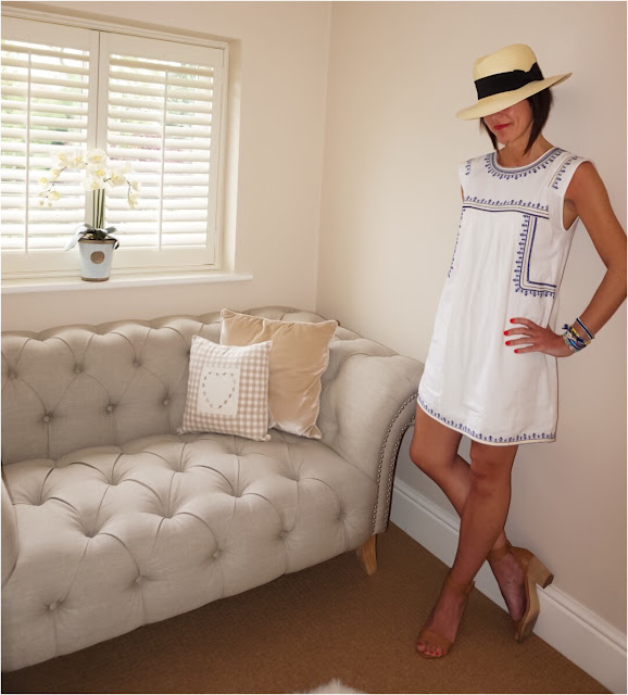 My Midlife Fashion, H&M Panama Hat, Mango embroidered shift dress, next tan block heel sandals