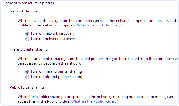 Windows network discovery file sharing media settings