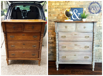Before and After : Rustic Whitewashed Chest of Drawers