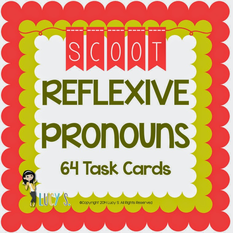 Reflexive Pronouns Scoot - 2 sets of 32 task cards