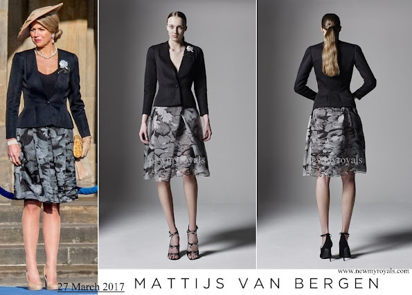 Queen Maxima wore Matthijs van Bergen Coppens Lelies jacket and skirt