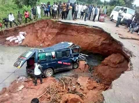 Passengers Stranded In Benue After Road Divides Into Two (Photos)