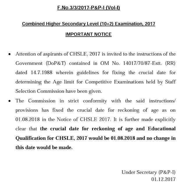 SSC Official Notice Regarding CHSL 2017 Age Issue
