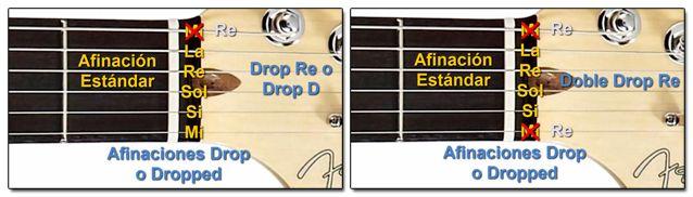 Afinaciones Alternativas Drop o Dropped para Guitarra