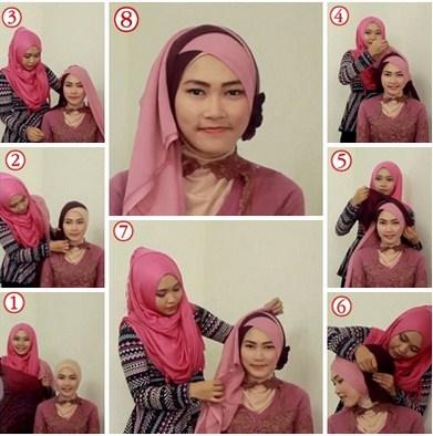 Aneka Tutorial Hijab Modern Tumpuk Silang Dua Warna