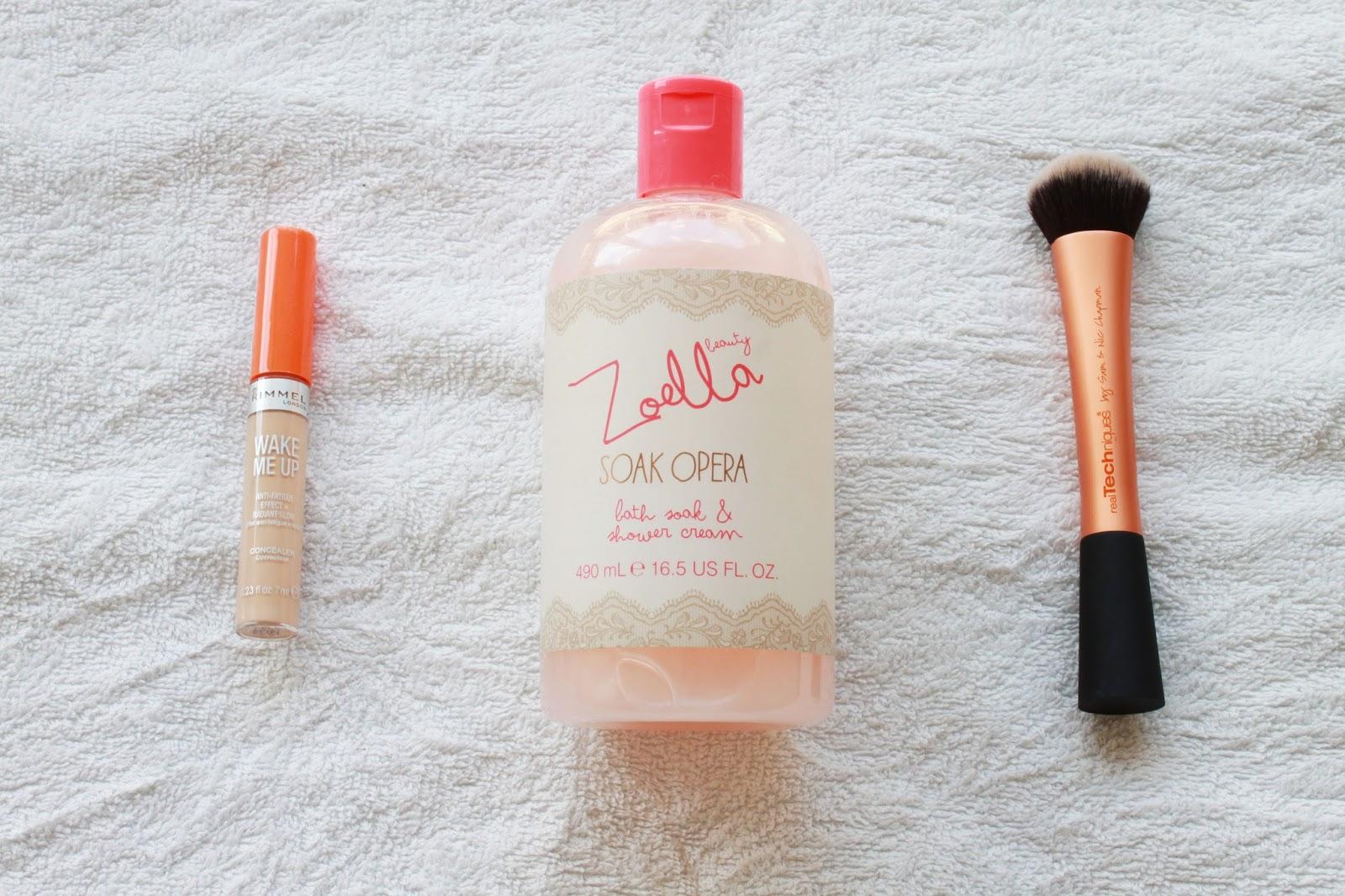 2015 Beauty Favourites: Rimmel Wake Me Up Concealer, Zoella Beauty Soak Opera Bath Soak & Shower Cream, Real Techniques Expert Face Brush