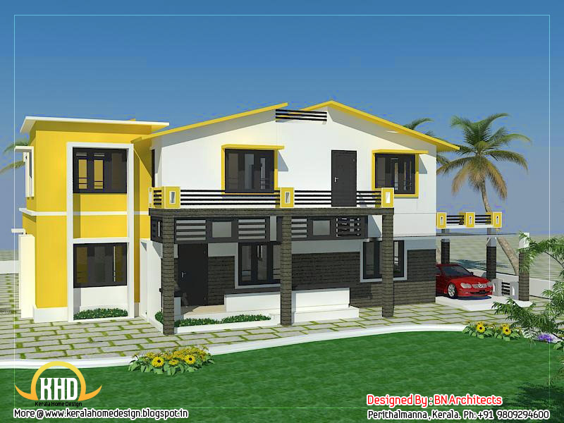 Front Elevation House Colours : February kerala home design and floor plans