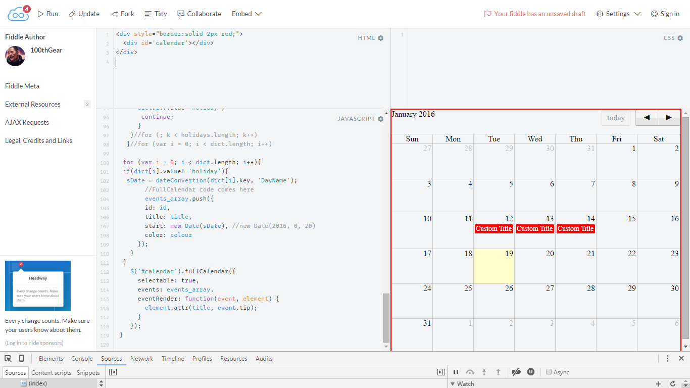 Jquery: Exclude Custom holiday between given date range in