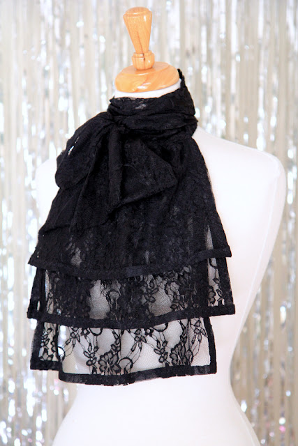 Black Lace Jabot by Mademoiselle Mermaid.