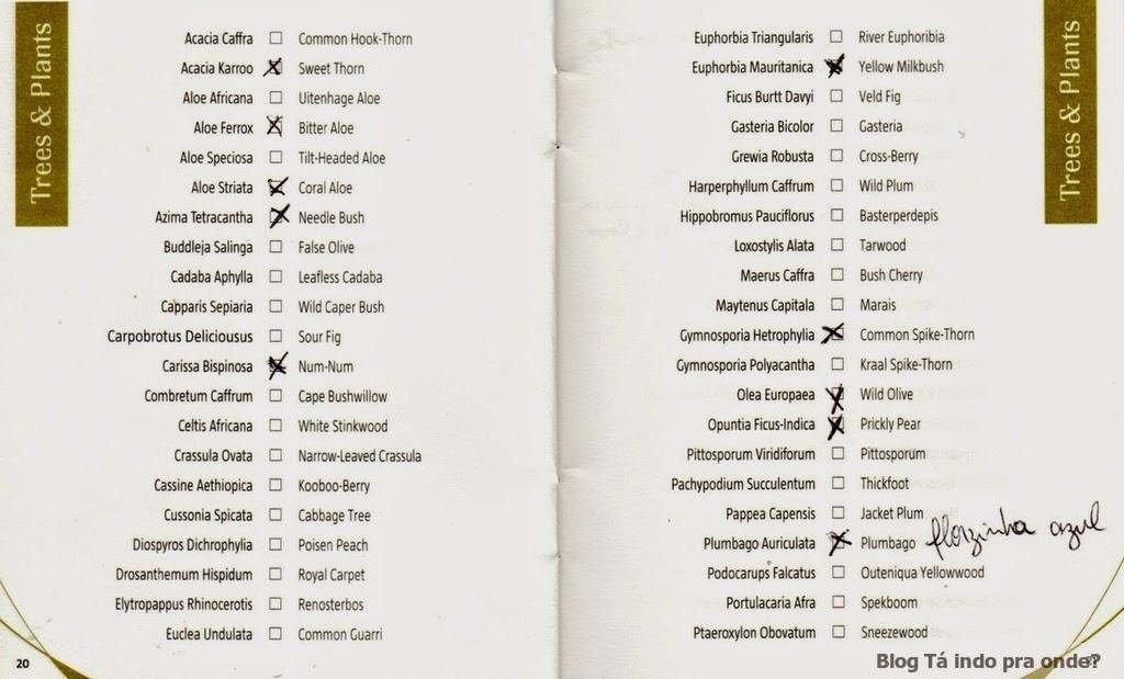 checklist de animais e plantas para safári