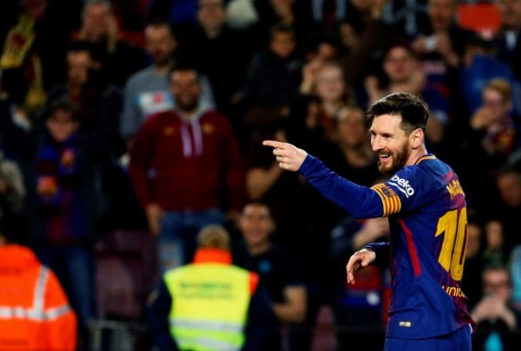 Lionel Messi of Barcelona celebrating a goal