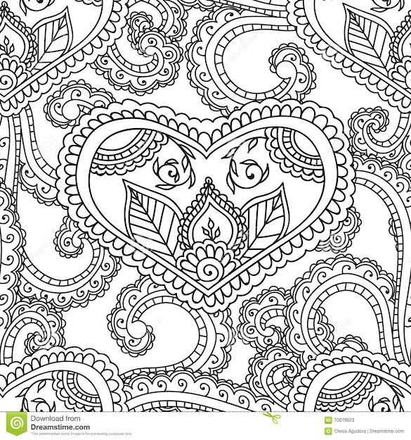 Coloring Pages For Adults Seamles Henna Mehndi Doodles Abstract Floral  Elements Stock Photos