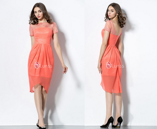 illusion short sleeve knee length custom bridesmaid dress