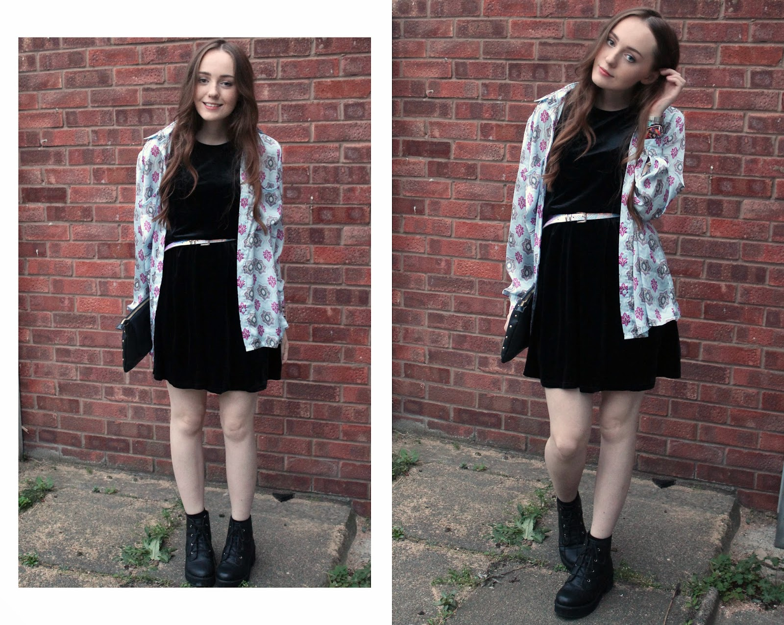 OOTD featuring black velvet skater dress from get the label, missguided printed blue and pink shirt, blue and pink iridescent belt from primark, asos revolution ankle boots and black studded clutch bag from river island - blogger review