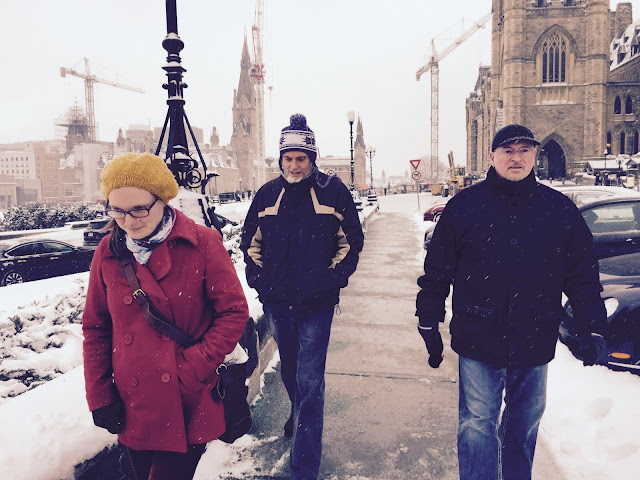 Martha, former alto, David and Pierre leave Parliament Hill after enjoying a Carillon concert of Pierre's music.