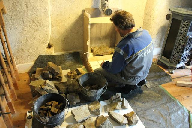 Stone work on homemade storage heater