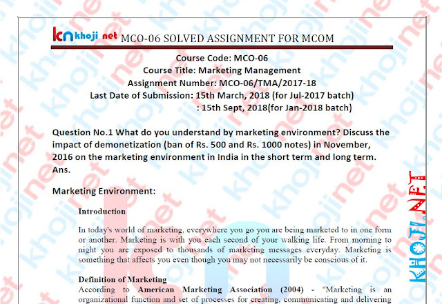 MCO-06 Solved Assignment For IGNOU MCOM 2nd Year 2018 Session