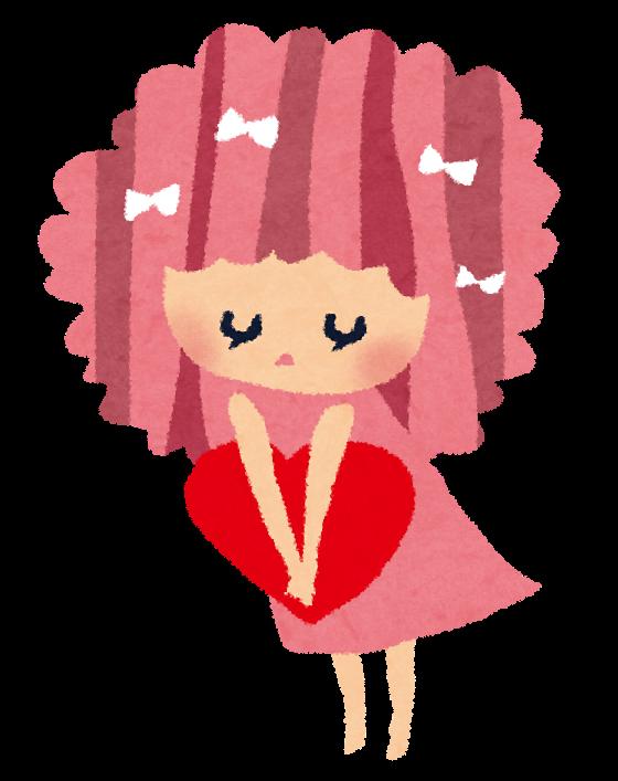 バレンタインのイラスト「恋する女の子・リボン」