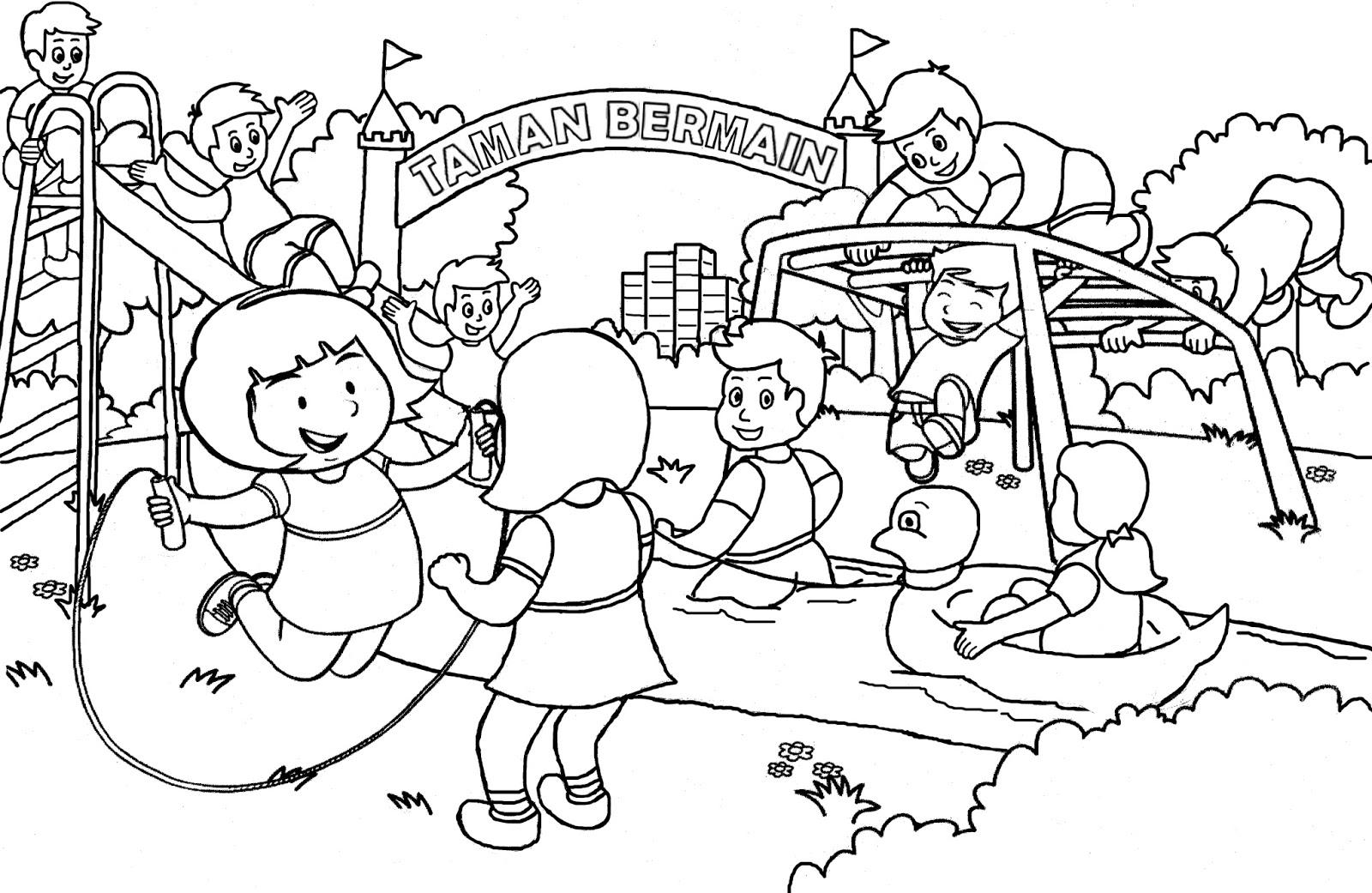 1 Gambar Mewarnai Anak Anak Bermain di Taman Bermain Colouring Children Playing in The Playing Park