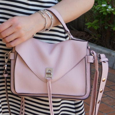 striped dress, Rebecca Minkoff small Darren messenger bag in peony pink | away from the blue