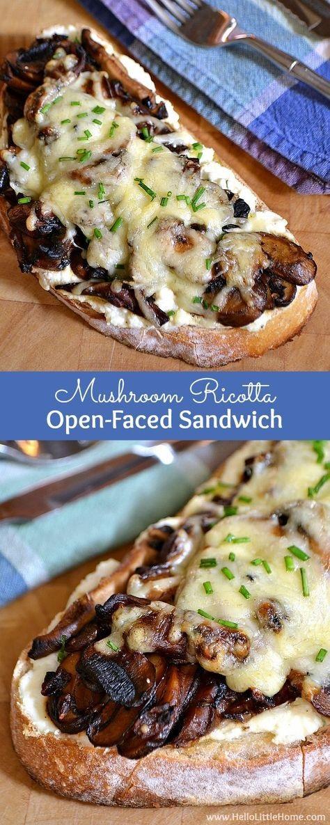Mushroom Ricotta Open-Faced Sandwich