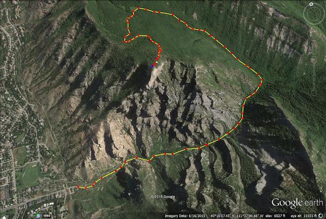 Squaw Peak trail map, Rock Canyon, Utah