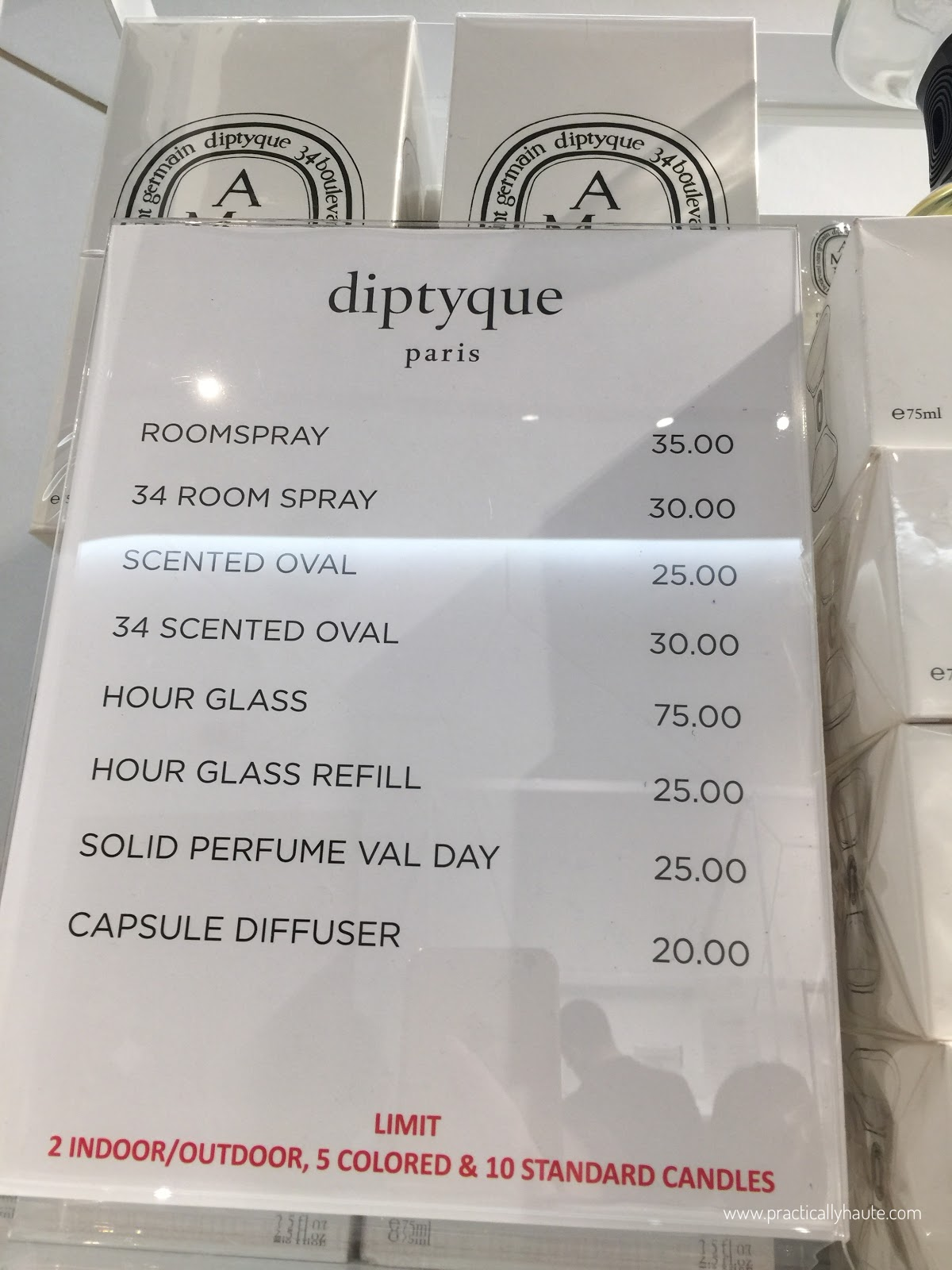 Diptyque sample sale prices