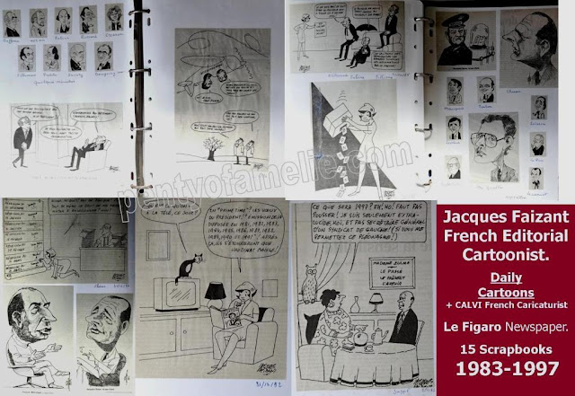 French Editorial Cartoonist Jacques Faizant, Sample of Daily Cartoons for Le Figaro Newspaper collected in 15 Scrapbooks.1983-1997 Period