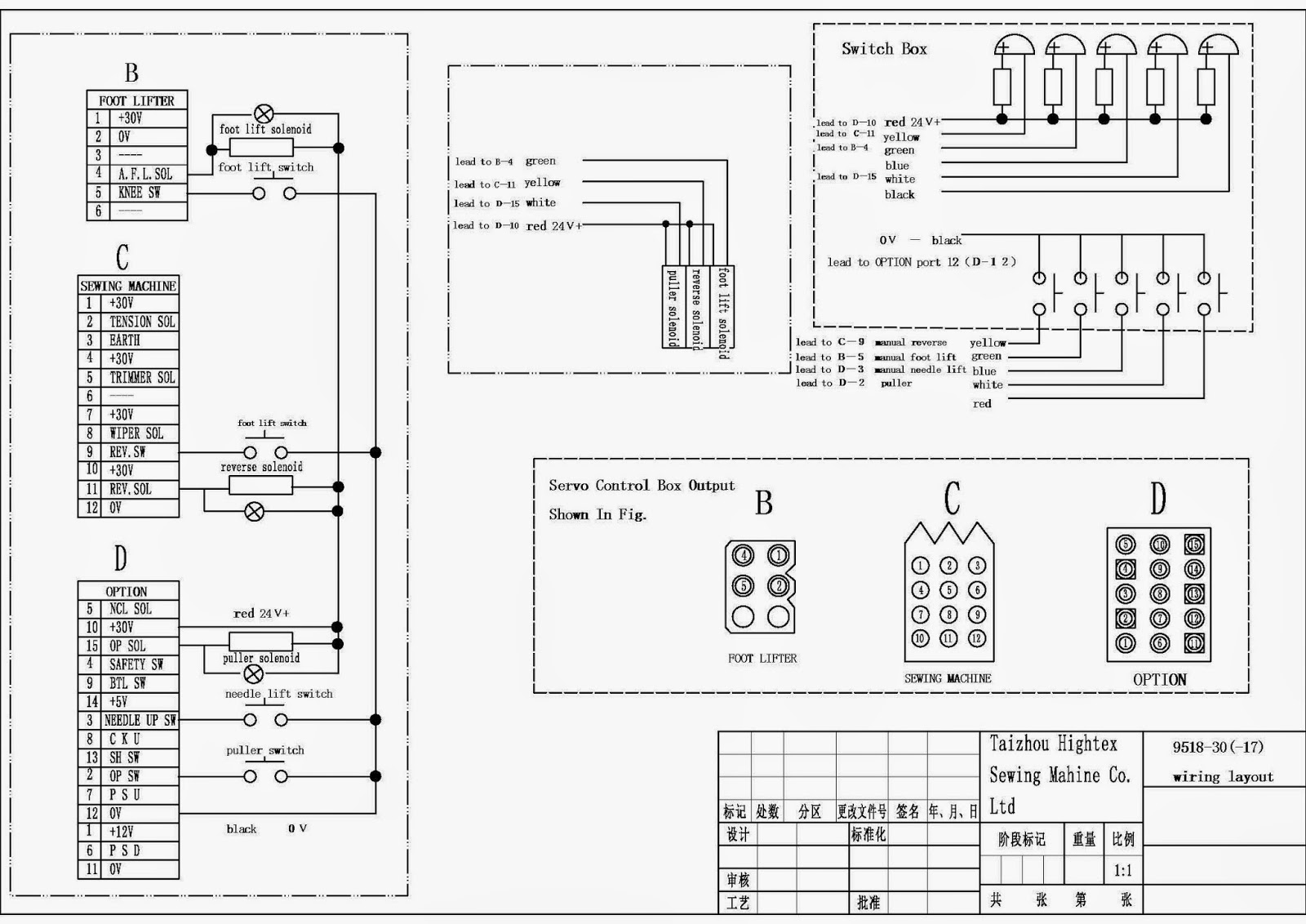 wiring diagram for long arm sewing machine