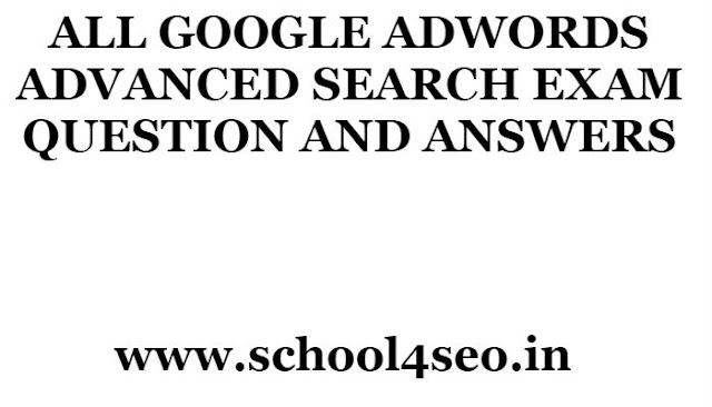 GOOGLE ADWORDS ADVANCED SEARCH EXAM QUESTION AND ANSWERS