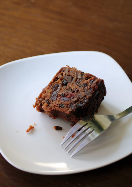 Assumption Abbey fruitcake - a rich, dense cake loaded with soaked fruits, nuts and spices made by Trappist monks in Ava, Missouri