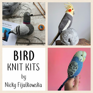Bird knit kits by Nicky Fijalkowska