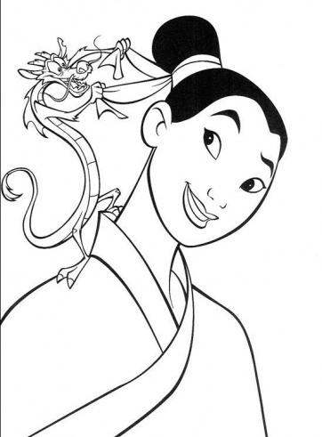 7 Beautifull Princess Mulan Characters Coloring Pages