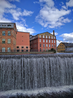 Waterfalls in the industrial quarter of Norrköping, Sweden