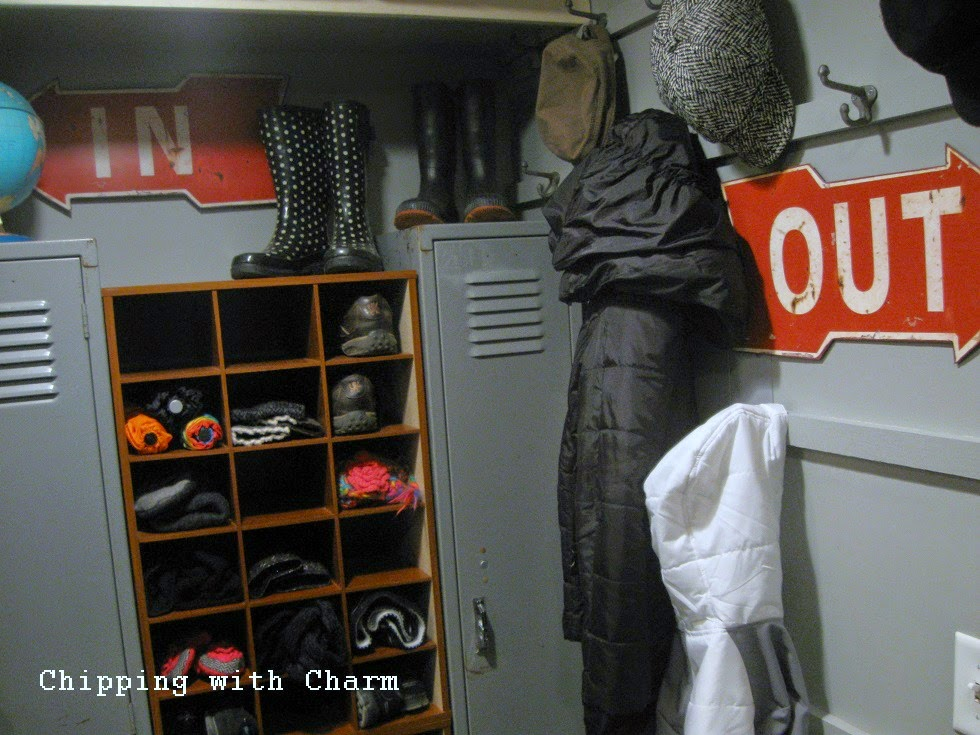 Chipping with Charm:  Basement Entry Redo, Arrow Signs...www.chippingwithcharm.blogspot.com